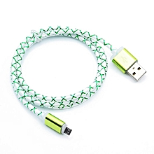 Colorful Silk 1M 5 Colors PVC Line Sync Data Charging Lighting Micro USB Cable Green