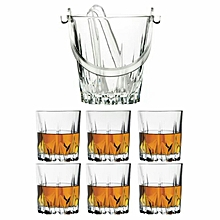 6 Whisky Glasses Set & Karat Ice Bucket with tongs