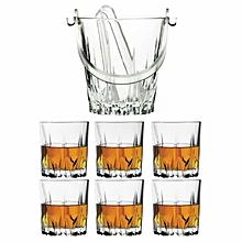 6 Whisky Glasses Set & Karat Ice Bucket with tongs
