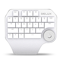 Delux T11 Wired Designer Keypad 28 Keys Keyboard with Smart Knob - WHITE