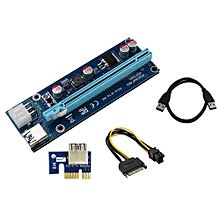 PCI Express 16x To 1x Powered Riser Adapter Card With 60cm USB 3.0 Extension Cable And 4-Pin MOLEX To SATA Power Cable-(1 Pack 4 Pin)