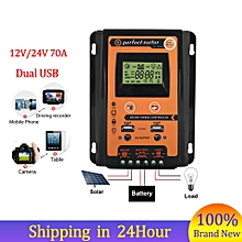 【50% OFF】12V/24V 70A MPPT Solar Charge Controller Solar Panel Battery Regulator Dual USB LCD Display