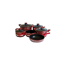 12 Piece - Non Stick Cooking Pots - Red and Grey