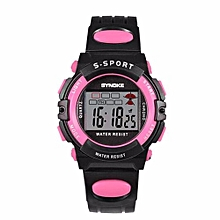Famous Sport LED Digital Watches Men Fashion Top Brand Wrist Watch Male Electronic Clock Digital-watch(Black&Pink)