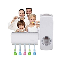 Automatic Toothpaste Dispenser & 5 Toothbrush Holder Set Wall Mount Rack