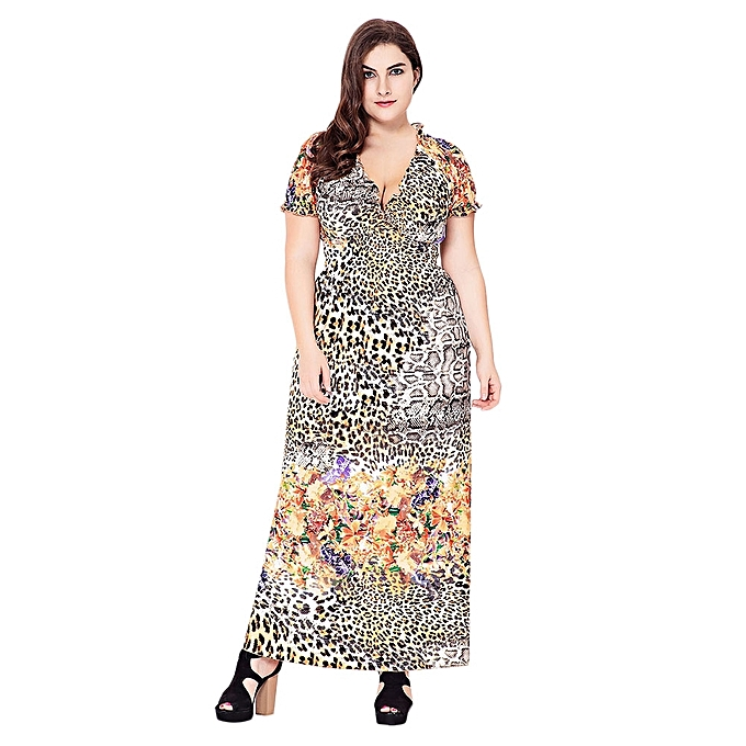 Women Large Size V-neck Leopard Print Waisted Ankle Dress - LEOPARD PRINT  PATTERN 9a09e2ac7d