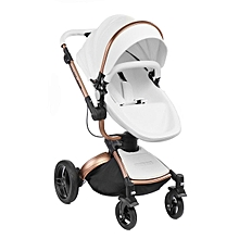Baby stroller 3 in 1 leather Carriage Infant Foldable Pram pushchair bassinet PU