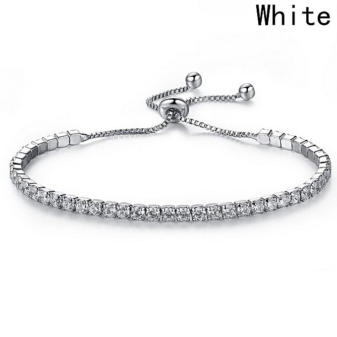 Elegant Deluxe Womens 925 Sterling Silver Crystal Diamond Bracelets Gift