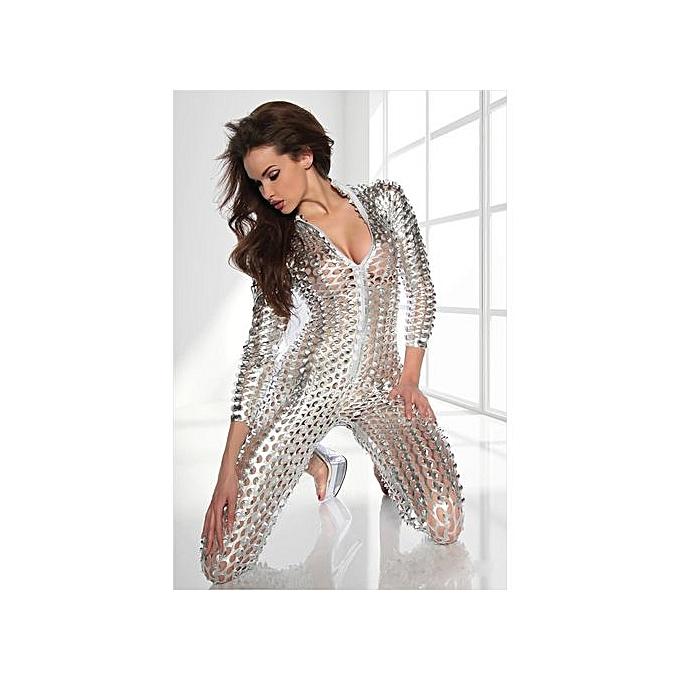 8867789e9a36 Hot Sale Sexy Women Leather Latex Shiny Jumpsuit Hollow Out Hole DJ Dance  Bodysuit Catsuit Exotic