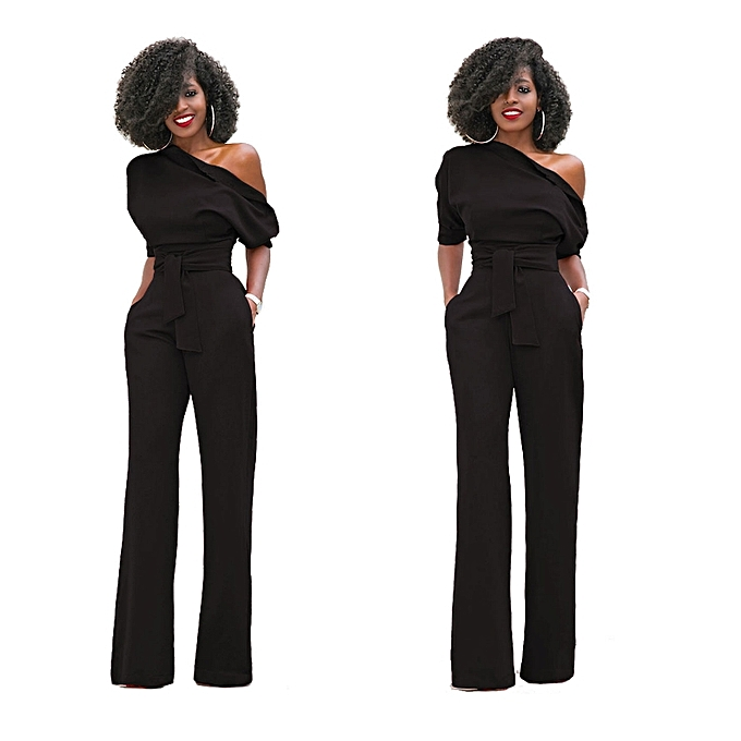 463beb3b1dc8 Generic New Women Off The Shoulder Elegant Jumpsuits Women Plus Size Rompers  Womens Jumpsuits Short Sleeve Female Overalls-black