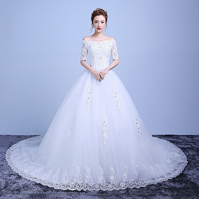Cathedral Length Train Wedding Gowns: AFankara Chapel Train Floor Length Wedding Gowns, Bride