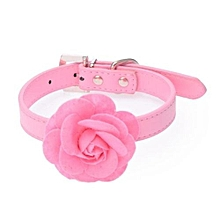 Sweet Rose Studded Puppy Pet Collar Leather Buckle Neck Strap Collars PK/S