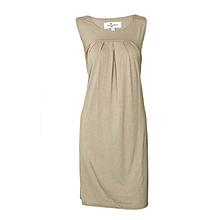 Brown Maternity /  Pregnancy Belted Short Sleeved Dress