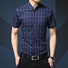 Check Men's Shirts Short Sleeve Slim Fit Business Formal Shirts (Blue)