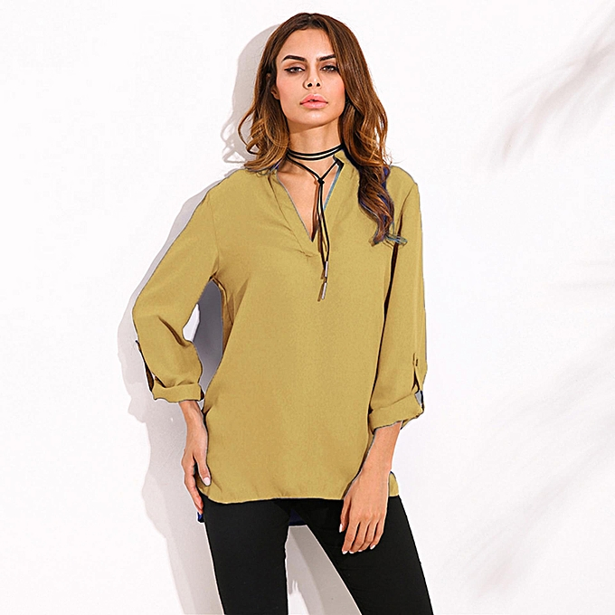 6f5623103e10 ZANZEA ZANZEA Oversized Spring Autumn Women Blouses Elegant Sexy V Neck  Long Roll Up Sleeve Casual Loose Solid Blusas Shirts Plus Size Yellow