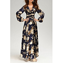 Women Floral Print Maxi Dress - Blue