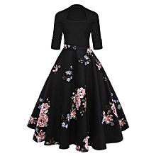 Women Floral Midi Vintage Flare Dress - Black