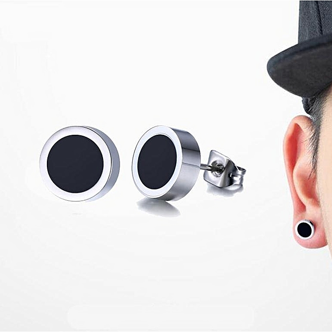 Men Earrings Stainless Steel Black Blue White Stud Of Round Tunnel Plug Post 8mm Uni