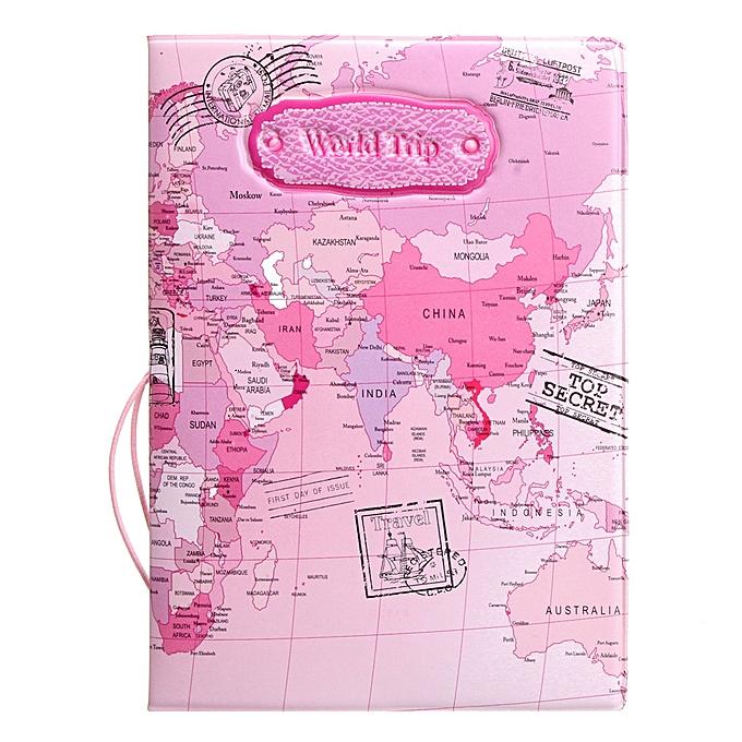 World Map Passport Holder.Generic Leather World Map Passport Holder Organizer Travel Card Case