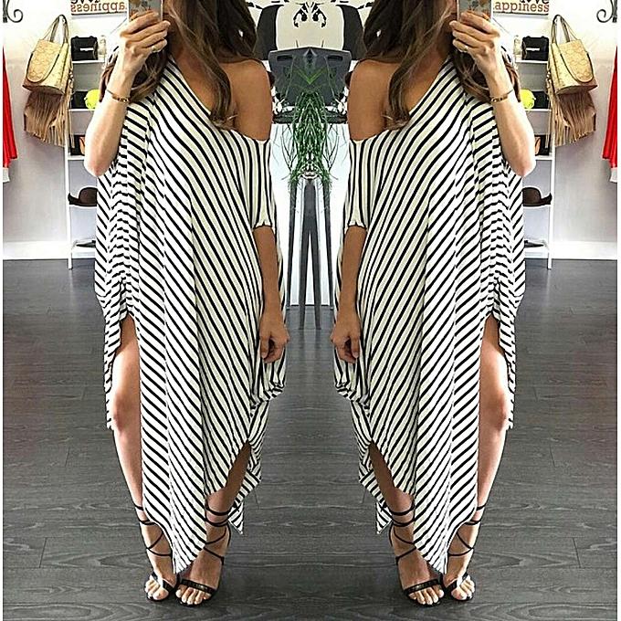 0e9dd401efc New Women Loose Long Dress Striped Batwing Sleeve Off-shoulder Split  Asymmetric Casual Maxi Plus