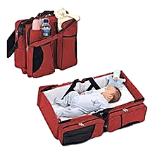 Baby Travel Bed & Magical Baby Bag- 4 in 1 Multifunctional Baby Travel Bed Cot Baby Bassinet and Diaper Bag-red