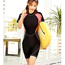 Women One Piece Swimsuit Large Size Profession Sports Bodysuit Swimwear Short Sleeve Beachwear Bathing Suit - black