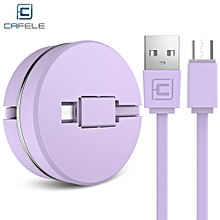 Circular Cover Stretchable Micro USB Data Charging Cable 1M - Purple