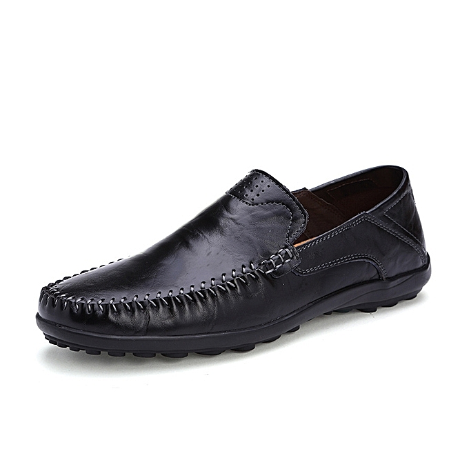 US Size 6.5-11.5 Men Leather Flat Casual Soft Outdoor Breathable Flats  Loafers Shoes 3682c74f196e