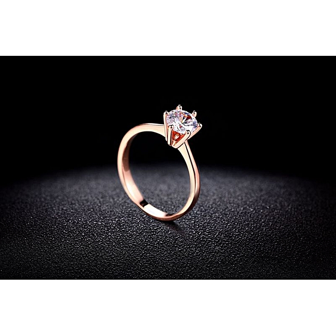49cffd98a8f Rose gold champagne > 7.25-Classic Jewelry Fashion Simple Girl Ring Zircon  Micro-plated Rose Gold Engagement Ring