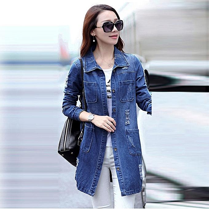 98af88a0debb jiuhap store Women Fashion Long Sleeve Denim Jacket Long Jean Coat Outwear  Overcoat L-Blue