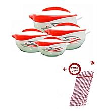Set of 4 Pinnacle Parisa Hot Pot Serving Bowls + FREE Kitchen Cloth - Print Red