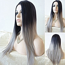Women's Sexy Long Straight Wig Hair Heat Resistant Black Ombre Grey Party Wigs