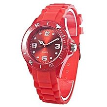 Blue Lans Women's Red Silicone Strap Watch