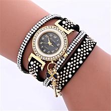 Women Ladies Metal Decorative Circle Quartz Watch Winding Bracelet BK