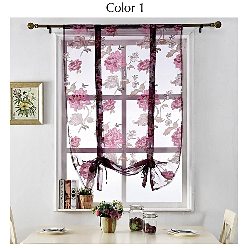Pair 140*140cm Living Room Bedroom Curtain Floral Tulle Door Window Curtain  Curtains Scarf Drapes Home Decor