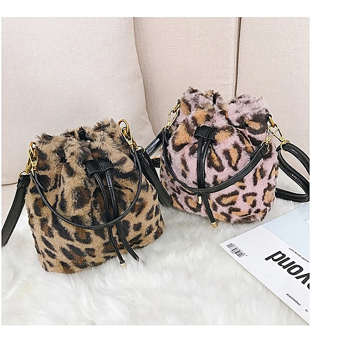 ... Leopard Print Fur Sling Bag Women Crossbody Bag Bucket Bag Single-Shoulder  Bag(Pink ... e2359d1d724cf