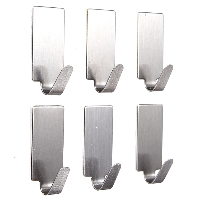 ... 6X Self Adhesive Home Kitchen Wall Door Stainless Steel Stick Holder Hook Hanger ...