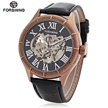 Forsining F120539 Men Auto Mechanical Watch Luminous Display Hollow-out Dial Wristwatch-BLACK AND GOLDEN