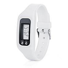 Digital LCD Pedometer Running Step Walking Distance Calorie Counter Watch Bracelet-White