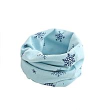 Kid Scarf Snowflake Pattern Stitching O-ring Woolen Baby Scarf Neck Warmer BU-Blue
