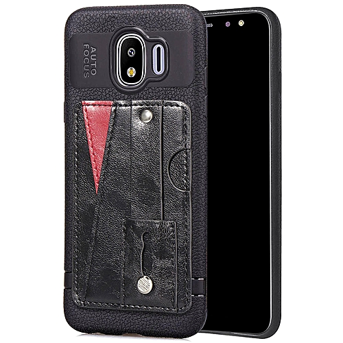 buy popular 2f6b0 3f012 Galaxy J4 Case,Slim Durable Sleek Leather Wallet Back Cover with Credit  Card Slots Kickstand and Wrist Strap Shockproof Stand Phone Case for  Samsung ...