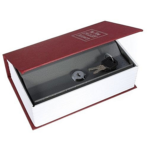 Secret Dictionary Book Cash Money Jewelry Safe Storage Box Security Key  Lock Red