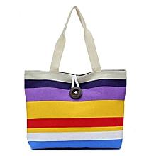 bluerdream-Lady Colored Stripes Shopping Handbag Shoulder Canvas Bag Tote Purse PP-Purple