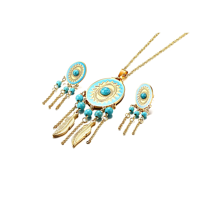 fea65b2567e Fashion Ladies Jewelry Set Gold Color Titanium Steel Dreamcatcher Necklace  Dangle Drop Earrings Jewelry Set for