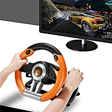 LEBAIQI PXN-V3II Steering Wheel Racing Game Controller for PS3 PS4 XBOX ONE PC Support Vibration Function Comes with Pedals (Orange)