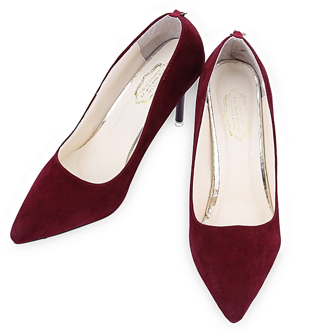 bb8d7ebf880 Summer Ladies Sexy Red Bottom Pointed Toe High Thin Heels Shoes - WINE RED