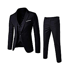 Korean men's suit 3 sets slim fit business formal suits dinner groom wedding dress  (jacket + pants + vest)