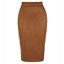 Female High Waist Knee Length Pencil Skirt - Brown
