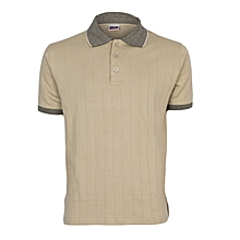 Stone Beige Men's T-Shirt With Checked Collar