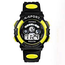 Tectores 2018 Fashion Multifunction Waterproof Mens Boys Digital LED Quartz Alarm Date Sports Wrist Watch Yellow